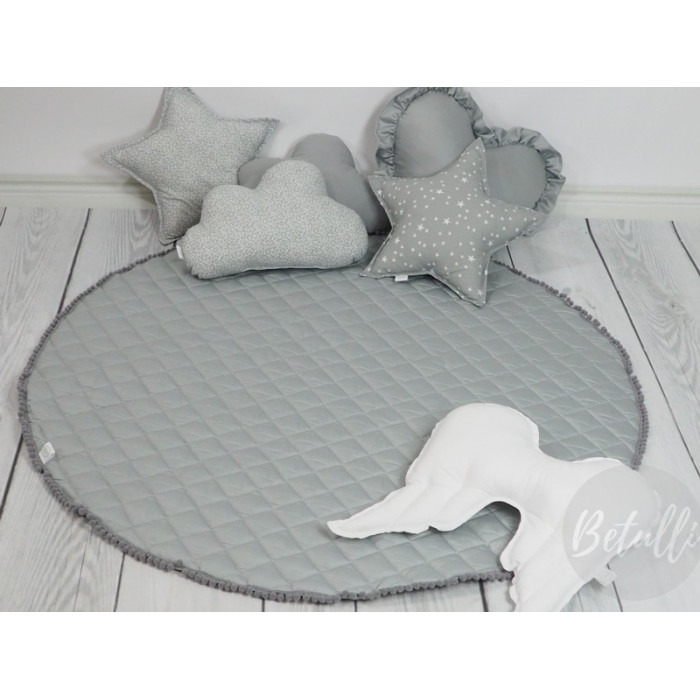 Play mat with pompoms  Grey