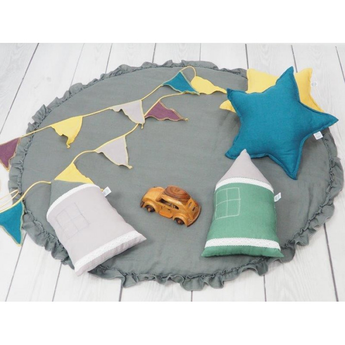 Linen Play mat with frill Graphite