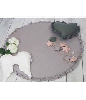 Linen Play mat with frill Grey