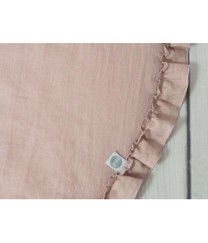Linen Play mat with frill Dusty pink