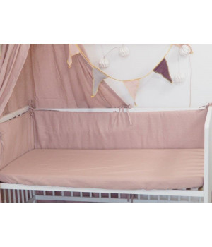 Linen Fitted sheet 60x120 Dusty Pink