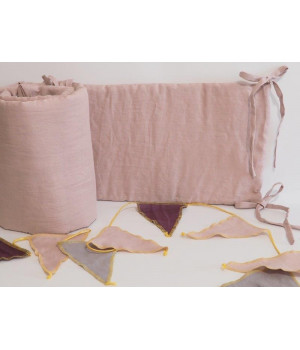 Linen Crib Bumper Dusty Pink