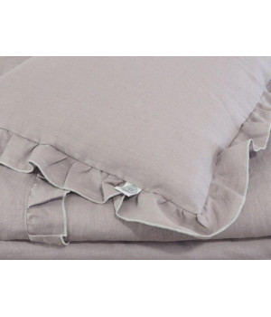 Natural Linen Covers with frills 100x135 Grey
