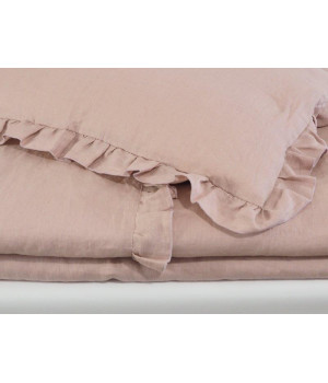 Natural Linen Covers with frills 100x135 Dusty pink
