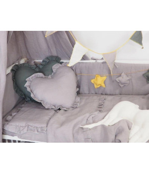 Natural Linen Bedding with frills and with filling 75x100 Grey