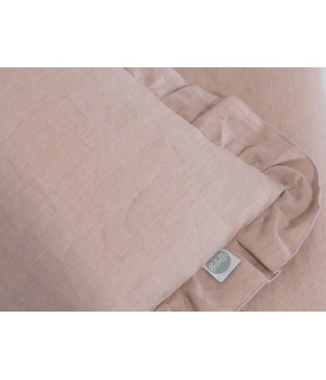 Natural Linen Bedding with frills and with filling 75x100 Dusty Pink