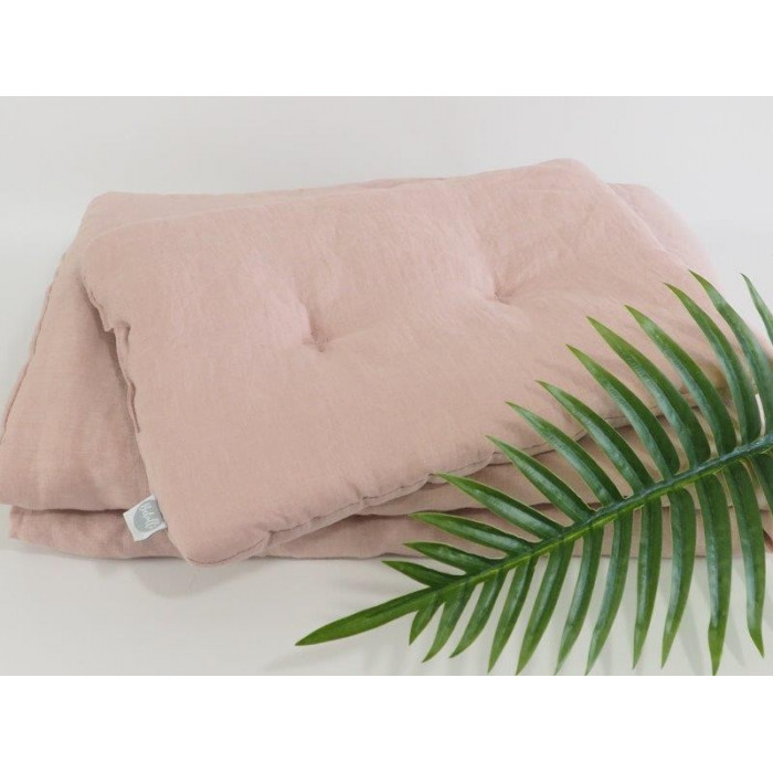 Natural Linen Bedding with filling 75x100 Dusty Pink