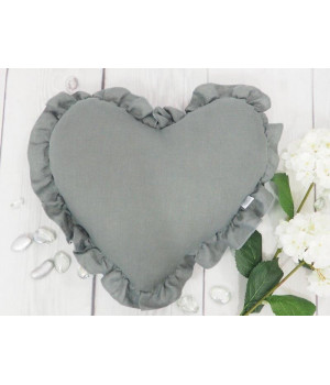 Natural Linen Heart Pillow with frill Graphite