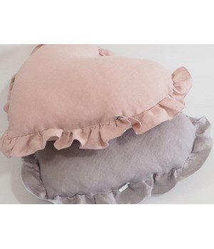 Natural Linen Heart Pillow with frill Grey
