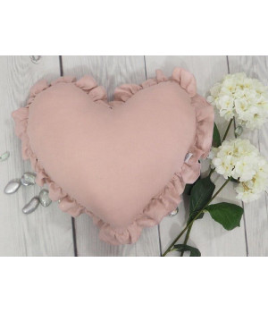 Natural Linen Heart Pillow with frill Dusty Pink