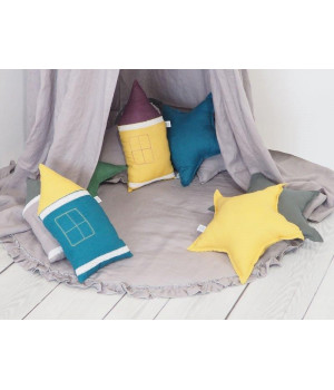 Natural Linen Pillow Star Grey