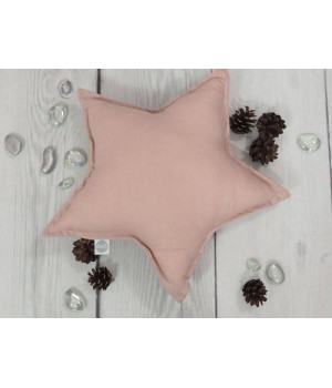 Natural Linen Pillow Star Dusty Pink