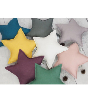 Natural Linen Pillow Star White