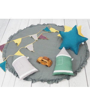 Natural Linen Pillow Star turquoise