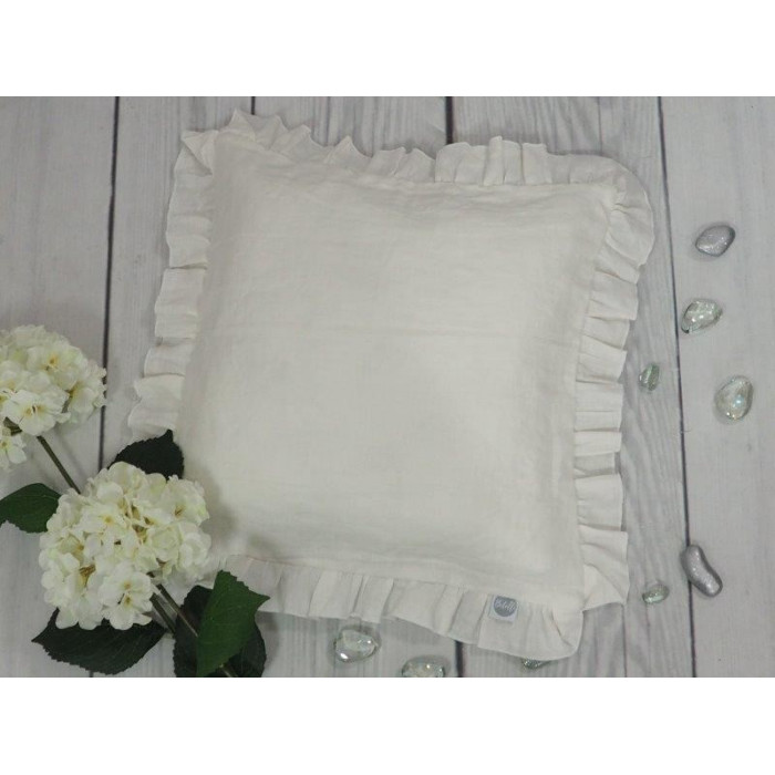 Natural Linen Cover for Pillow 40x40cm White