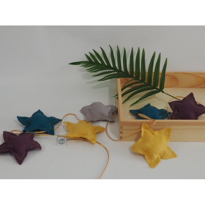 Natural Linen star garland 5