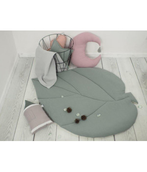 Muslin Play mat leaf  Grey