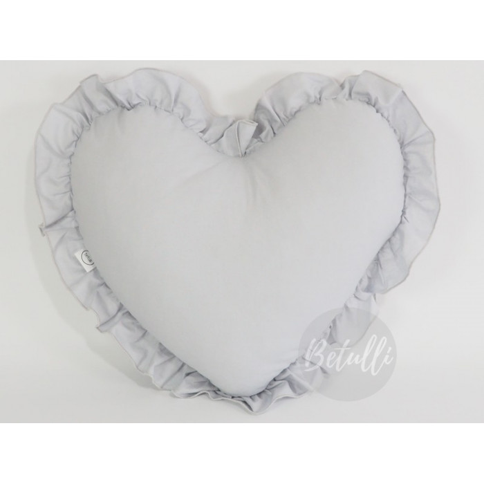 Pillow Pillow Heart with frill Grey