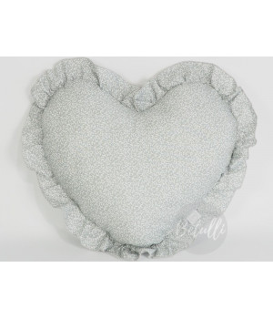 Pillow Pillow Heart with frill Grey / leaf